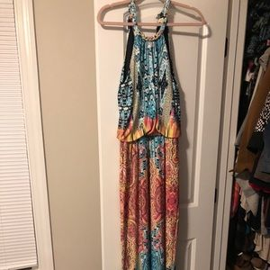Colorful halter maxi dress